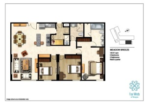 Meadow Breeze 146.81 sqm  (2 Bedrooms, 2 Bathrooms, Maid's quarter, Dining & Kitchen) 2nd - 14th Floor