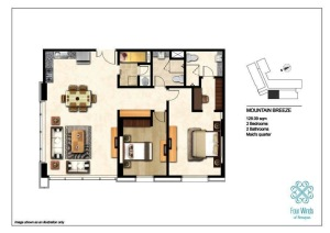 Mountain Breeze 128.09 sqm (2 Bedrooms, 2 Bathrooms, Maid's quarter, Dining & Kitchen) 3rd - 14th Floor