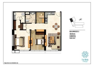 Sea Breeze 2 109.09 sqm (2 Bedrooms, 2 Bathrooms, 1 Study room, Dining & Kitchen) 2nd - 14th Floor