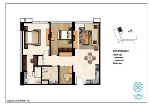 Sea Breeze 3 109.09 sqm (2 Bedroom, 2 Bathroom, 1 Study room, Dining & Kitchen) 2nd - 14th Floor
