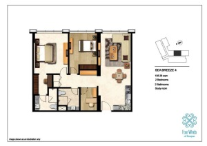 Sea Breeze 4 108.36 sqm (2 Bedrooms, 2 Bathrooms, 1 Study room, Dining & Kitchen) 2nd - 14th Floor