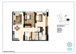 Sea Breeze 5 109.01 sqm (2 Bedrooms, 2 Bathrooms, 1 Study room, Dining & Kitchen) 2nd - 14th Floor