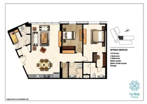 Spring Breeze 140.28 sqm  (2 Bedrooms, 2 Bathrooms, Maid's quarter, Maid's private access, 1 Storage room, Dining & Kitchen) 2nd - 14th Floor
