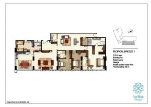 Tropical Breeze 1 311.83 sqm  (3 Bedrooms, 3 Bathrooms, Maid's quarter access door, 1 Storage room, Dining & Kitchen, Floor to ceiling 3.5 m) 15th Floor