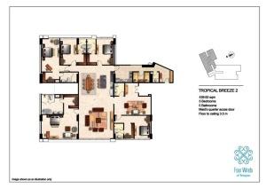 Tropical Breeze 2 439.62 sqm (5 Bedrooms, 5 Bathrooms, Maid's quarter access door, Dining & Kitchen, Floor to ceiling 3.5 m) 15th Floor