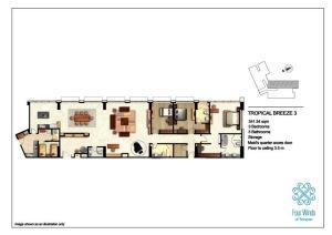 Tropical Breeze 3 341.54 sqm (3 Bedrooms, 3 Bathrooms, Maid's quarter access door, 1 Storage room, Dining & Kitchen, Floor to ceiling 3.5 m) 15th Floor