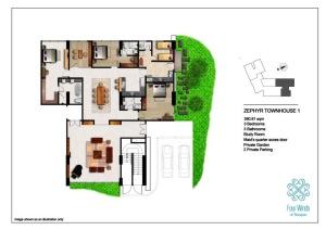 Zephyr Townhouse 1 380.81 sqm (3 Bedrooms, 3 Bathrooms, 1 Study room, Maid's quarter access door, Dining & Kitchen, Private Garden, 2 Private Parking) 1st Floor