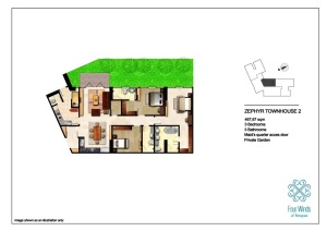 Zephyr Townhouse 2 467.67 sqm (3 Bedrooms, 3 Bathrooms, Maid's quarter access door, Dining & Kitchen, Private Garden) 1st Floor