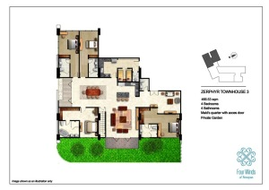 Zephyr Townhouse 3 466.53 sqm (4 Bedrooms, 4 Bathrooms, Maid's quarter access door, Dining & Kitchen, Private Garden) 1st Floor
